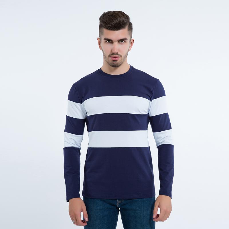 Mens long sleeve t shirt o neck striped t shirt capthatt for Mens striped long sleeve t shirt