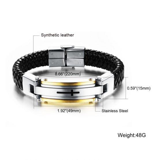 leather cross bracelet mens