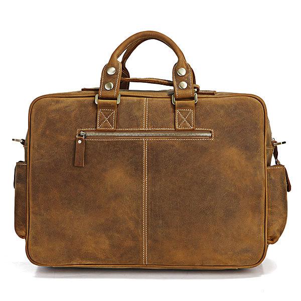 Polare Mens Handcrafted Real Leather Vintage Laptop Backpack Shoulder Bag a85458bdefab3