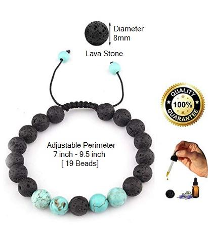 SULYSI Adjustable Lava Rock Stone Essential Oil Bracelet