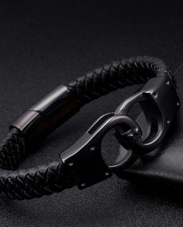Onyx Braided Leather Bracelets