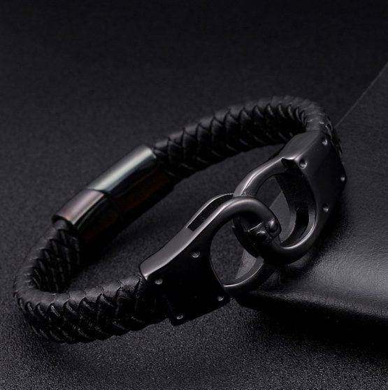 Onyx Braided Leather Bracelets