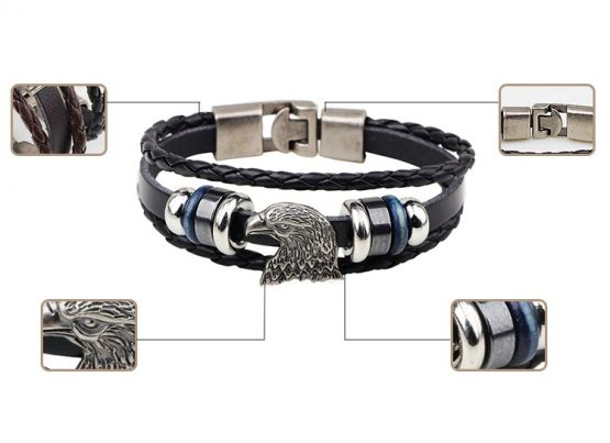 American Eagle Leather Bracelet-TRUST