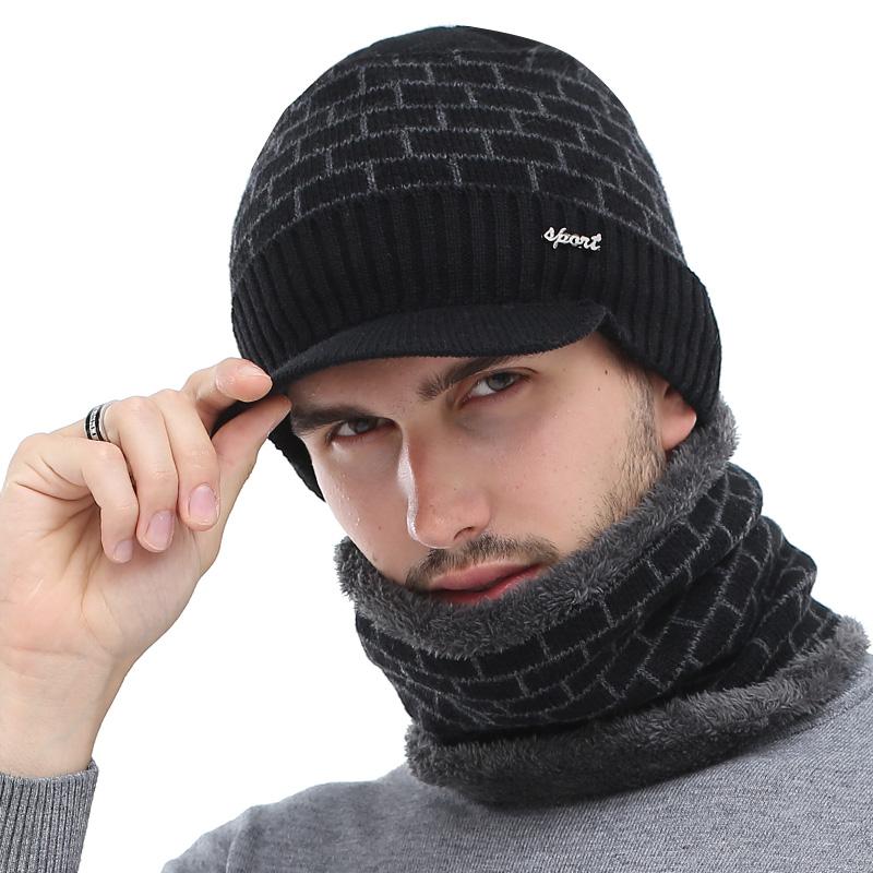 Aetrue Knitted Hat Scarf Mask Balaclava Capthatt Mens