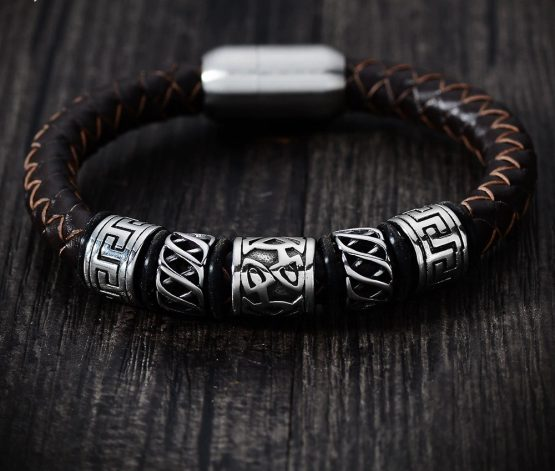 Handmade Mens Leather Bracelet