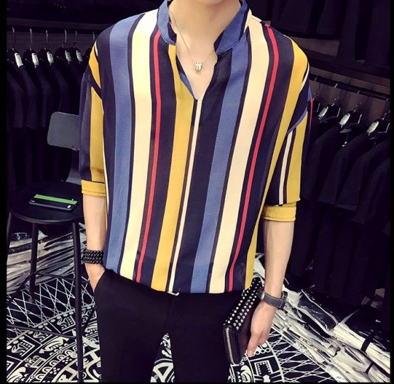 Mens long sleeve Vertical Stripe V-neck