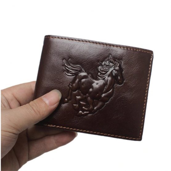 Bifold Genuine Leather Wallet with Horse Embossed Design, RFID Protection