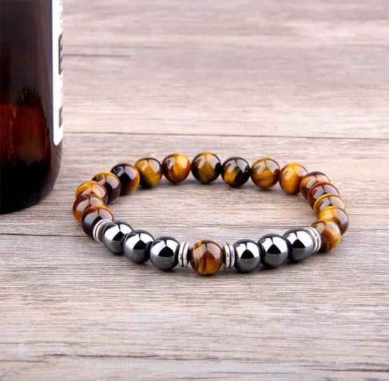 Natural Tiger Eye Beaded Bracelet For Men