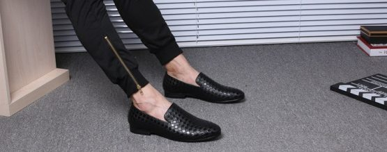 Braided mens leather loafers