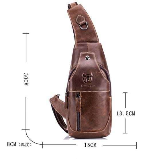BULLCAPTAIN Men's Sling Bag - Genuine Leather Chest Bag
