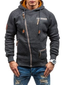 Coodrony Slant Zipper Hooded Sweatshirt