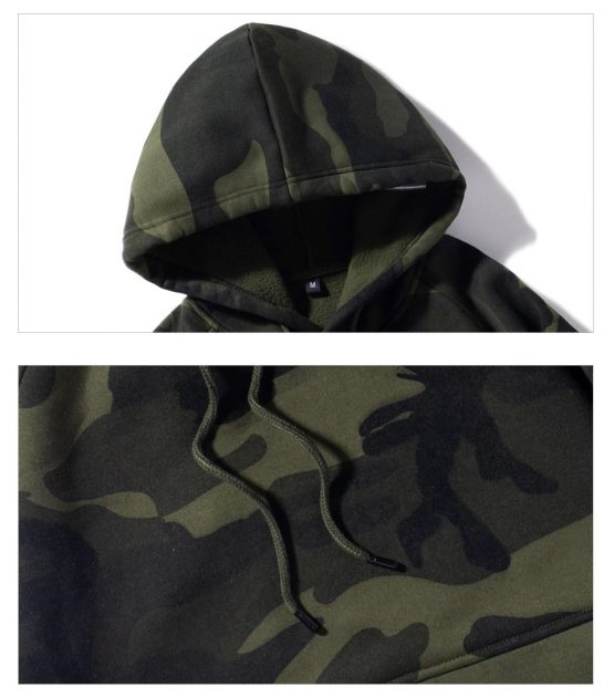 Men's Camo Long-Sleeve, Hoodie with Kanga Pocket