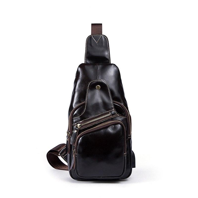 b322cfa60dd2 Vintage Genuine Leather USB Charging Port Casual Sling Bag Chest Bag  Crossbody Bag For Men