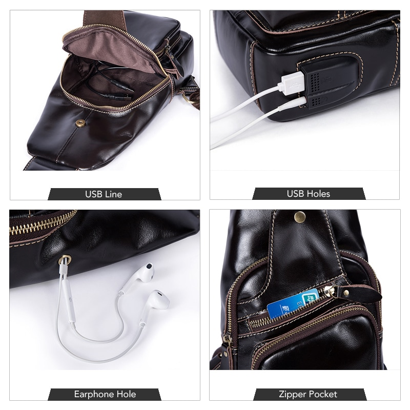 53a280481557 Vintage Genuine Leather USB Charging Port Casual Sling Bag Chest Bag  Crossbody Bag For Men