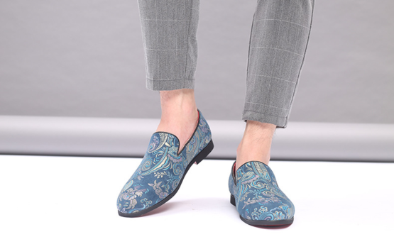 Men's Slip On Embroidered Dress Shoes