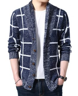 Kingsei Mens Plaid Wool Cardigan, Slim Fit & Long Sleeve