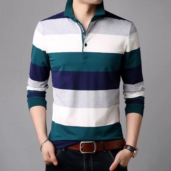 COODRONY Striped Long Sleeve T Shirt Men