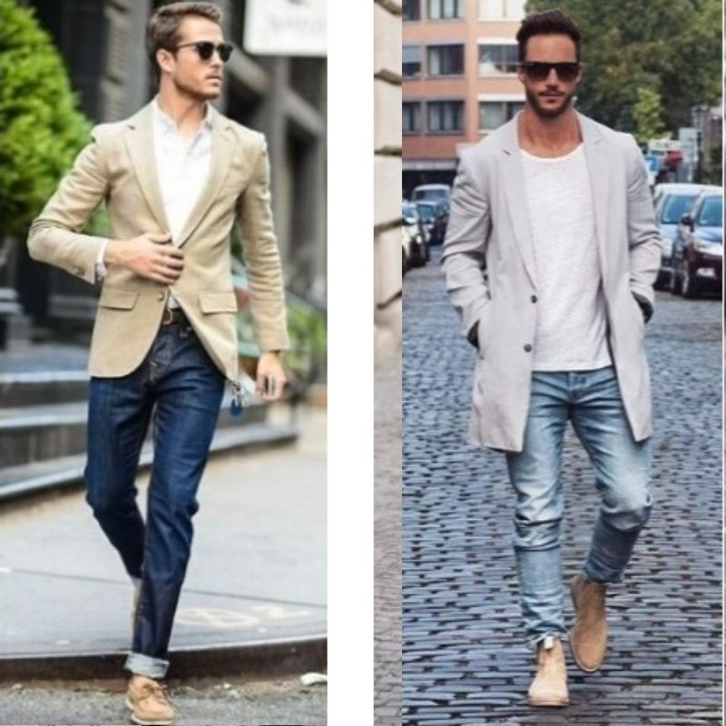Blue Jeans with Beige Shoes