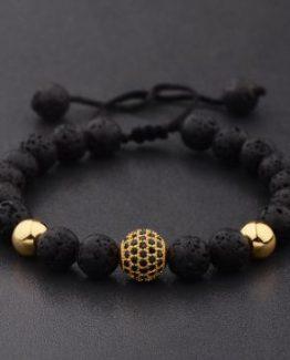 Lava Stone Bracelet, Zircon Bracelet
