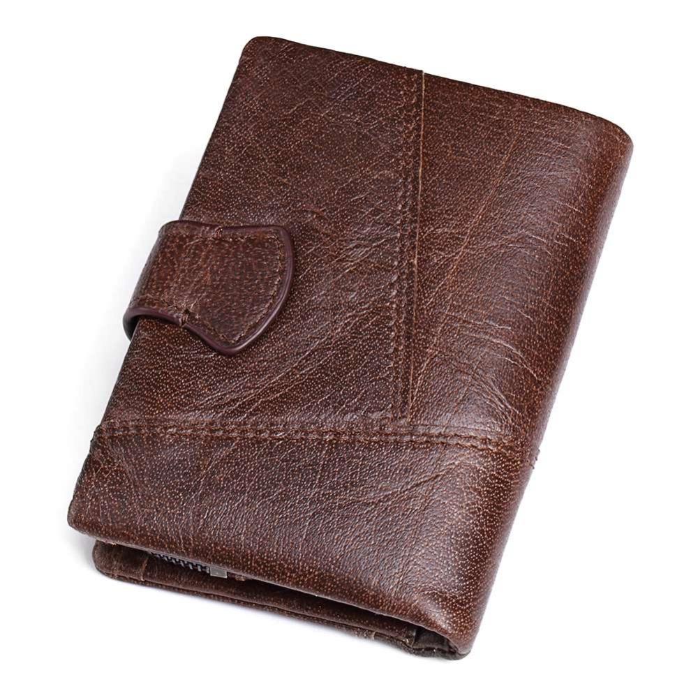Kavis Genuine Cow Leather Men Wallet Coin Purse Trifold Capthatt