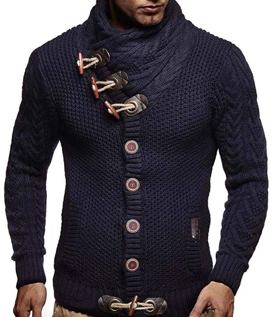 LEIF NELSON Men's Knitted Jacket Cardigan - capthatt.com
