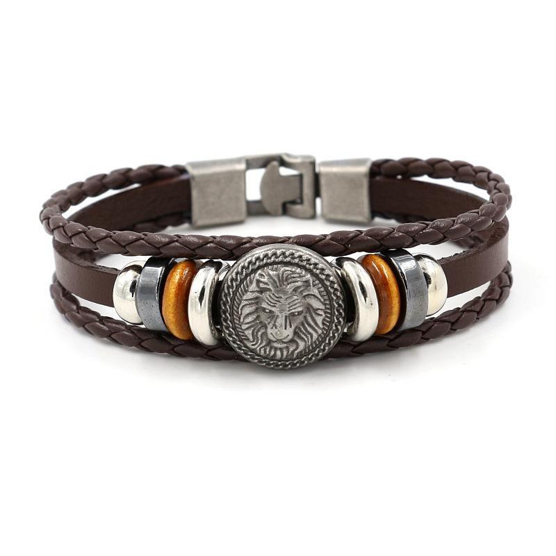 Retro Leather Woven Lion Bracelet
