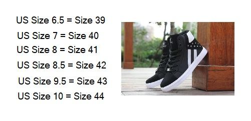 mens high top sneaker measurements