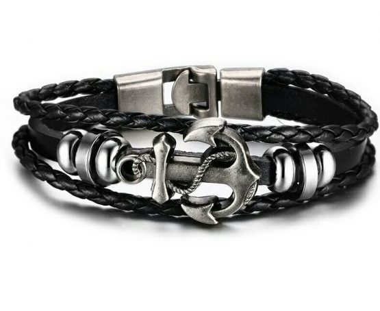mens leather anchor braclet black