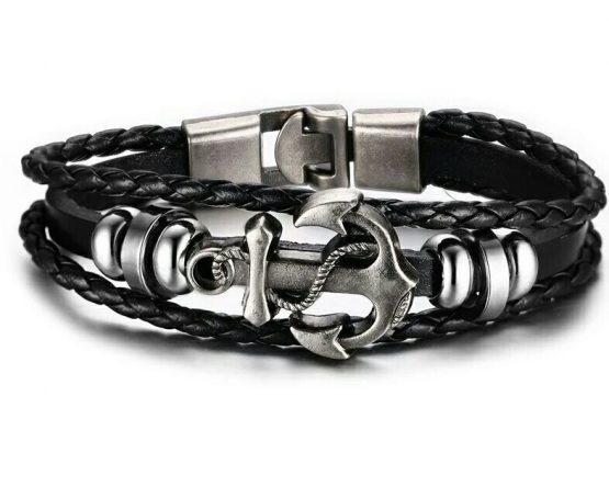 mens leather anchor braclet black