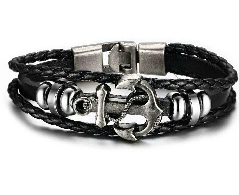 Mens Vintage Anchor Bracelet Black