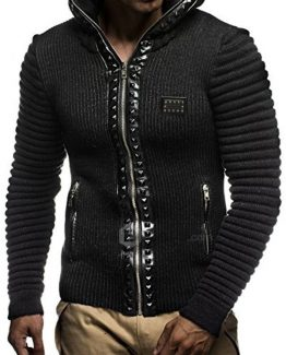 Leif Nelon LN5165 Men's Cardigan with Stud Details and Zip Front