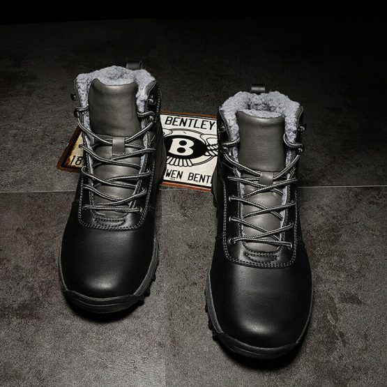 Men Fur Lined Winter Boots Thermal Warm Shoes Hiking Sport Waterproof Ankle Boot