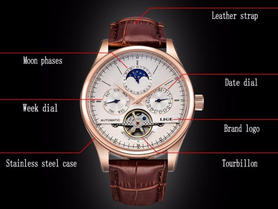 LIGE Mens Retro Watch, Automatic Mechanical Watch - Tourbillo