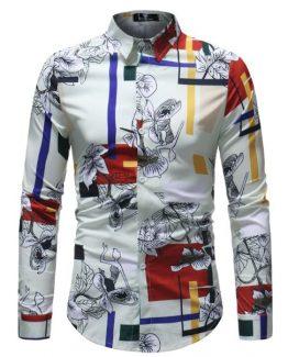Mens Print Formal Dress Shirt