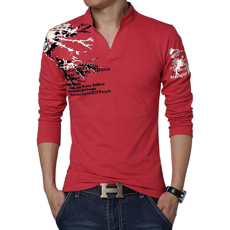 Printed Slim Fit Casual Long Sleeve T Shirt Men With V Neck