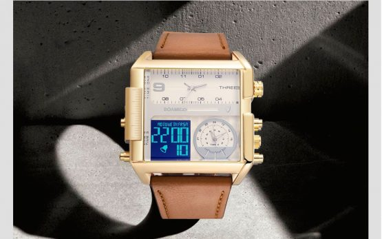 Multi-Time Zone Square Face Watch Mens