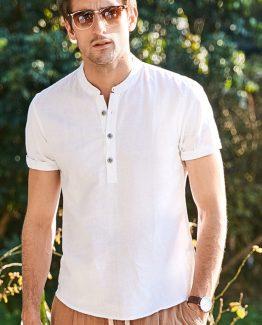 white linen shirt for men